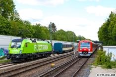 Die wohl einzigartigste Überführung fand am 15. Mai statt. Die Flixtrain 182 505 holte den Wagen 471 462 für das Technikmuseum in Berlin ab.