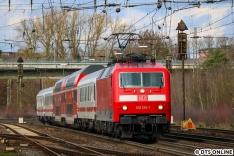 Meinen ersten PbZ sollte ich - bespannt mit der mir vielfach begegneten 120 120 - am 7. März am Lüneburger Güterbahnhof erwischen. Ich hatte den Zug mit dem Metronom überholt gehabt, und dank bereitstehendem Shuttle haben wir es rechtzeitig zur Fotostelle geschafft.