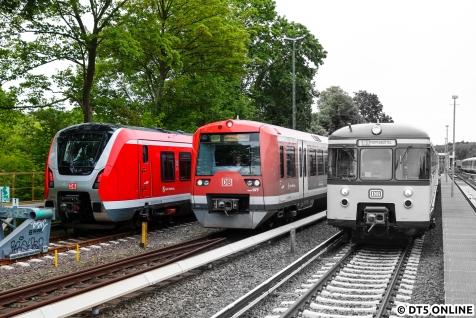 Ein ganz anderes Bild bot sich beim Einsetzen des Traditionszuges. Zu sehen sind alle drei Baureihen, die seit Dezember 2018 bei der S-Bahn im Einsatz sind *hust